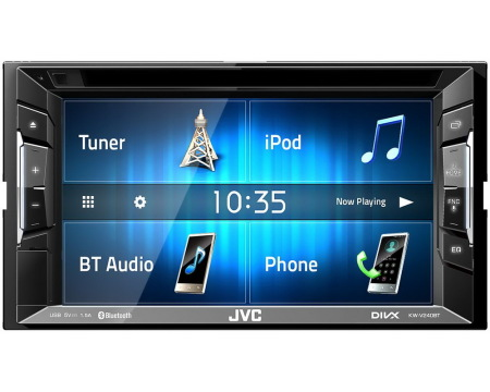 "JVC 2DIN autorádio/6,2"" displej/CD/DVD/USB/AUX/Bluetooth"